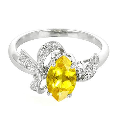 Silvershake Natural Yellow Beryl and Diamond White Gold Plated 925 Sterling Silver Ribbon Ring Size 7