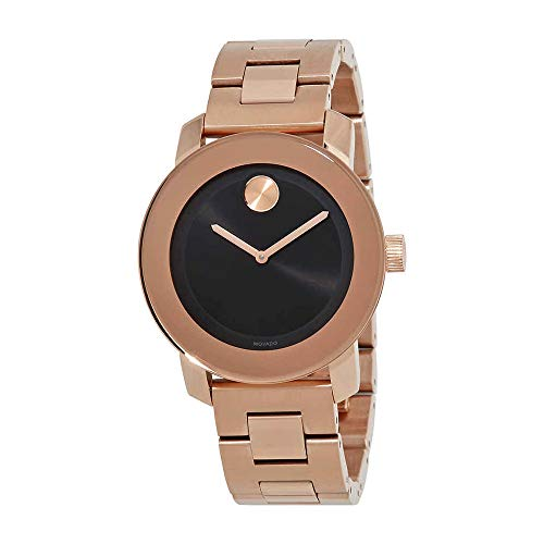 Movado Bold Black Sunray Dial Unisex Rose Gold Tone Watch 3600463 - Movado Gold Tone Wrist Watch