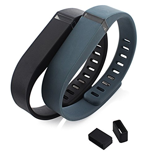 Taotreetm 2pcs Sport Ersatzschweißband Ersatz Bands mit Schließe für Fitbit Flex Sport Armband (ohne Tracker) & 2 Silikon Verschluss Ring (Large: 6.3-8.3 Inches, Black & Grey)