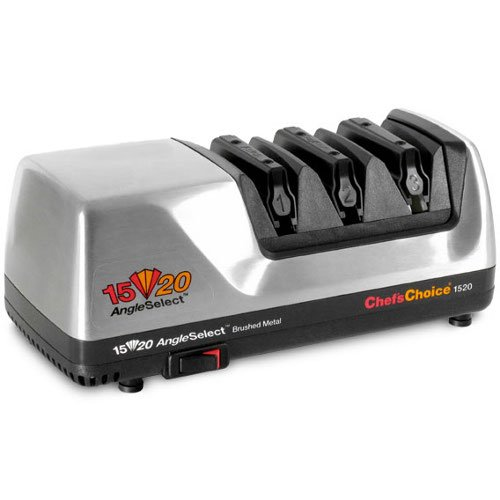 Blade Usa 3 (Chef'sChoice 1520 AngleSelect Diamond Hone Professional Electric Knife Sharpener for 15 & 20degree Knives Fine Edge or Serrated Blades Precision Guided Sharpening Made in USA,3-Stage Silver)