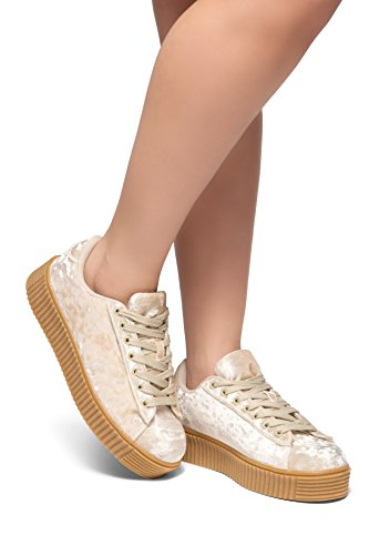 shoes Kate trainers Womens sneakers platform Herstyle plimsolls Beige creeper fashion 8xRBwnpqF