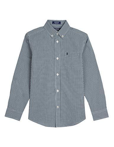 Izod boys Long Sleeve Gingham Button-Down Dress Shirt, Garden, Medium(10/12)
