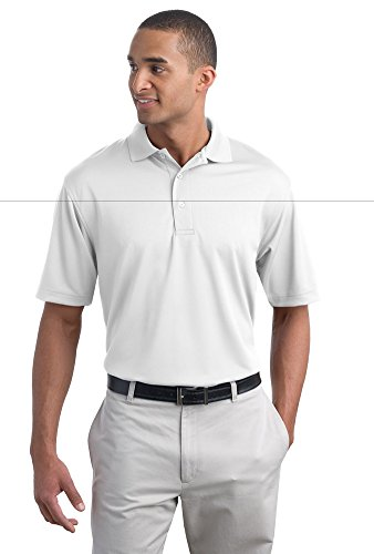 - Port Authority Mens Poly-Bamboo Charcoal Blend Pique Polo K497 -White XS
