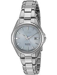 Citizen Womens  Quartz Titanium Casual Watch, Color Silver-Toned (Model: EW2410-54L)