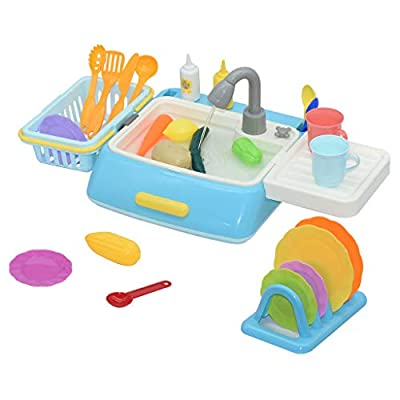 LNGRY-Ship from USA Kitchen Sink Toys Running Water Electronic Dishwasher Play House Pretend Role - Great Gift for Girls and Boys Ages 2 - 12 Years Old (Free, Blue): Toys & Games