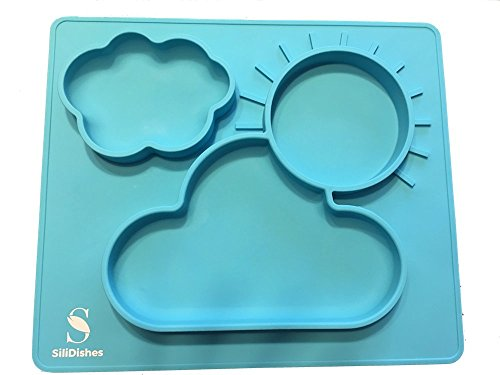 SiliDishes Sunshine Placemat  One Piece Silicone Food Tray with 3 compartments  Ideal for Baby Infants Toddlers preSchoolers and School Age Kids Teal