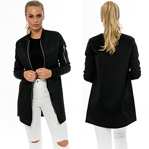 SFY Women Stand Collar Long Sleeve Zip Up Solid Bomber Jacket Long Outerwear