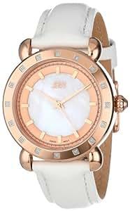 JBW Women's J6265C  16 Diamond Bezel White Genuine Leather Band Watch