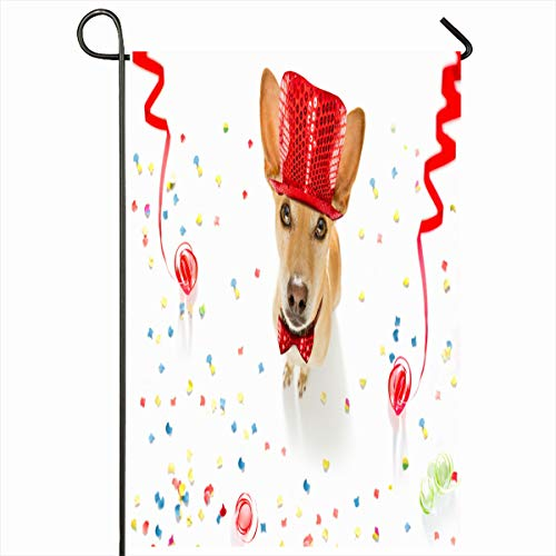 Ahawoso Seasonal Garden Flag 12x18 Inches Party Podenco Dog Celebrating New Years Eve Confetti Holidays Birthday Anniversary Beverage Carnival Home Decorative Outdoor Double Sided House Yard Sign -