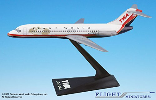 TWA McDonnell Douglas DC-9 (95-01)Airplane Miniature Model Plastic Snap-Fit 1:200 Scale Part# ADC-00903H-010
