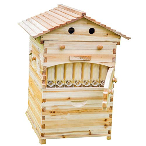 Lang Wooden bee House Honey auto Flow Beehive Box with 7 pcs auto Frame (Full hive)