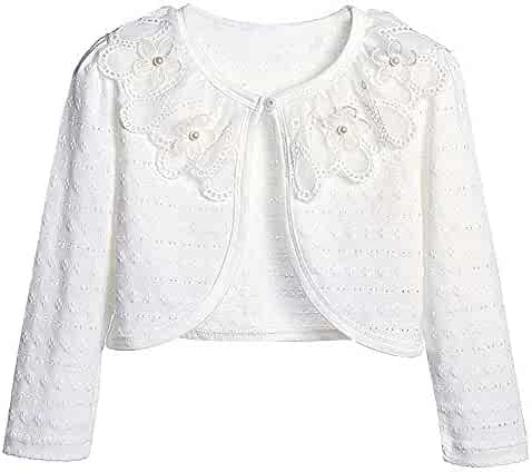 inhzoy Kids Girls White Lace Flower Girl Bolero Long Sleeves Cardigan Top Wedding Birthday Party Dress Coat