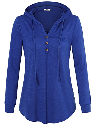 Vivilli Sweatshirt Hoodie Pullover, Women Fall Clothes V-Neck Hoodie Lightweight Loose Pullover Hooded Sweatshirts Plus Size Blue Large