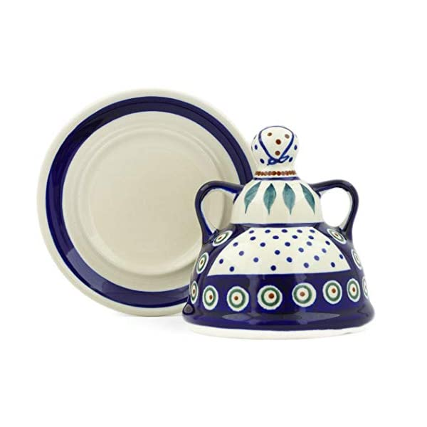 Blue Rose Polish Pottery Peacock Small Cheese Lady