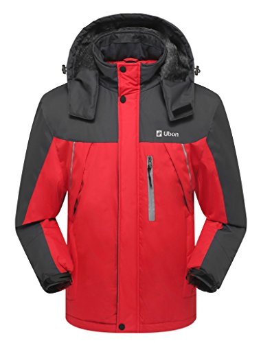 Ubon Men's Waterproof Mountain Jacket Fleece Windproof Ski Jacket(Red,US L) (Jacket Ski Insulated)