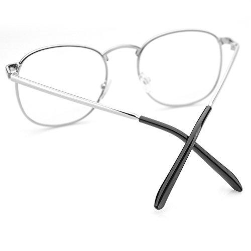PenSee Oversized Circle Metal Eyeglasses Frame Inspired Horned Rim Clear Lens Glasses (Silver)