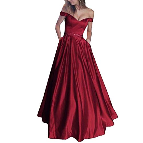 TANGSen Women Sexy Sleeveless Vest Dress Ladies V-Neck Solid Lace Sling Party Sheath Casual Long Dresses(Wine,XXXL)