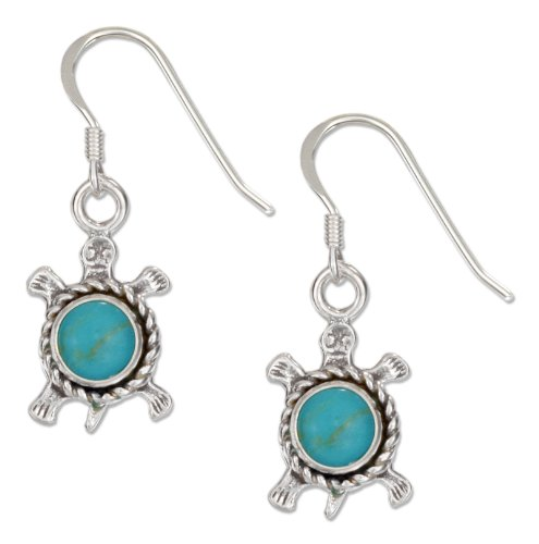 (Sterling Silver Antiqued Simulated Turquoise Turtle Earrings with French Wires)