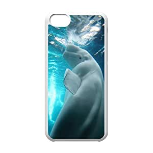 Case for IPhone 5C, Beluga Whale in the Ocean Case for IPhone 5C, Jumphigh White