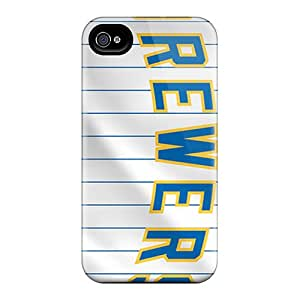 Tpu Case Cover For Iphone 4/4s Strong Protect Case - Milwaukee Brewers Design