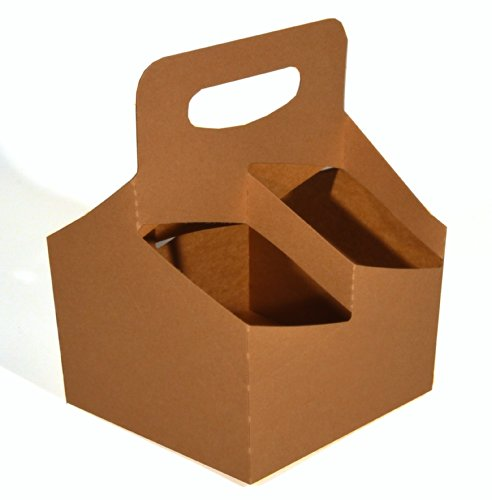 Southern Champion Tray 2797 Kraft Paperboard Drink Carrier with Handle, Hold 4 Cups up to 24-oz, 6-1/2