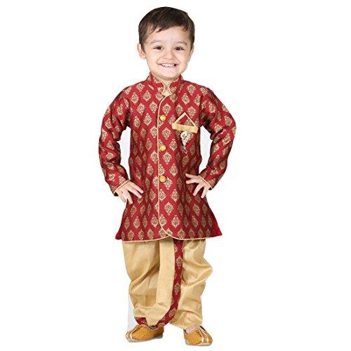 Ihram Kids For Sale Dubai: Children Ethnic Wear Marron/Fawn Dhoti Kurta Wedding Baby