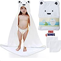 Baby Hooded Towel with 2 Free Washcloths - 100% Cotton Keeps Baby Dry and War...