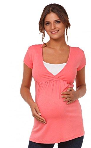 Happy Mama mujer. De punto premamá. manga corta camiseta imperio. 373p rosa