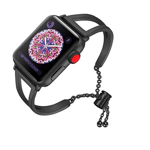 RUOQINI Compatible with Apple Watch Band,Jewelry Bangle Cuff Women Girls Adjustable Stainless Steel Bracelet for IwatchBands of Series 4/3/2/1,38mm 40mm SZ-B Black