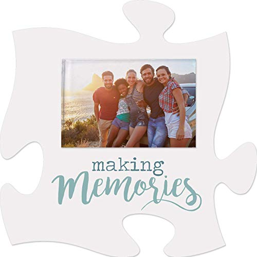 P. Graham Dunn Making Memories White and Nautical Blue 6 x 6 Wood Mini Wall Puzzle Frame