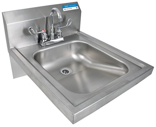 "BK Resources BKHS-ADA-D-P-G Stainless Steel 4"" Deck Mount 2-Hole ADA Hand Sink 1-7/8"" Drain Opening 14""L(Left to Right) x 16""W(Front to Back) x 5"" Deep with Wrist Blade & Lead Free Faucet NSF Approved"