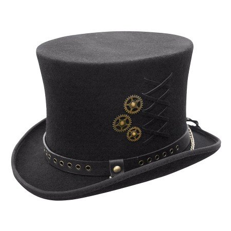 Men's Steampunk Goggles, Guns, Gadgets & Watches Conner Hats Australian Wool Steam-Punk Top Hat $78.00 AT vintagedancer.com