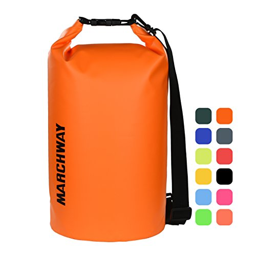 MARCHWAY Floating Waterproof Dry Bag 5L/10L/20L/30L, Roll Top Dry Sack for Kayaking, Rafting, Boating, Swimming, Camping, Hiking, Beach, Fishing, Skiing, Snowboarding (Deep Orange, 20L) (Snow 20l)
