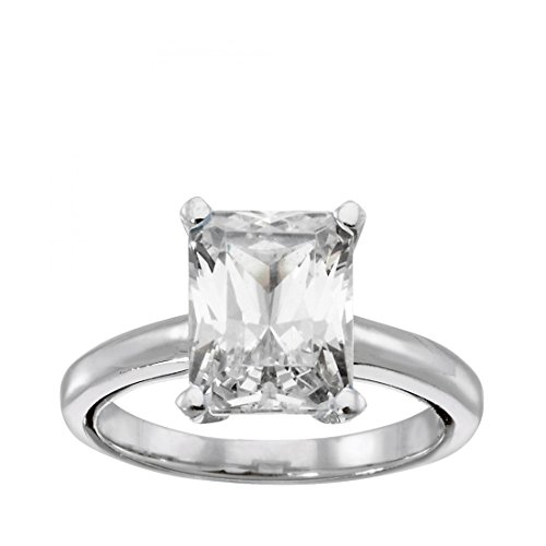 Solitaire Wedding Engagement Anniversary Ring Radiant Cut Cubic Zirconia 925 Sterling Silver, 6 ()