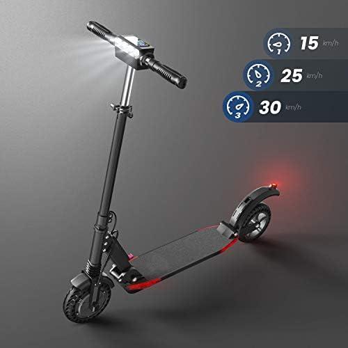 Trottinette Electrique, Vitesse jusqu'à 30km/h, 30km la Longue Portée, Moteur de 350W avec écran LCD, Scooter Électrique Pliable et Réglable en Hauteur pour Ados et Mixte Adulte