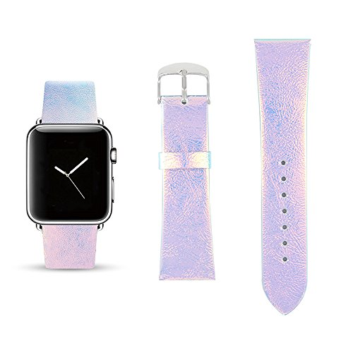 Series Pastel (Iridescent Pink Replacement Band for iWatch 38mm Pastel Bay Wrist Band PU Leather Strap for Apple Watch Smartwatch Series 3 2 1 Version)