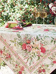 April Cornell Floral Holdiay Tablecloth Merry Multi Color 100% Cotton 60 x 104
