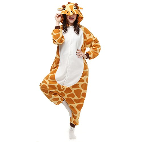 Cousinpjs Adult Cosplay Costume Animal Sleepwear Halloween Pajamas (X-Large, Giraffe)