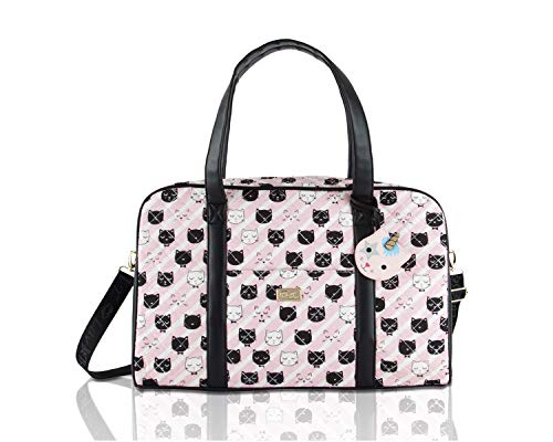 Betsey Johnson Luv CruzIn Cotton Quilted Carry On Weekender Travel Duffel Bag - Black/Blush Cat Face
