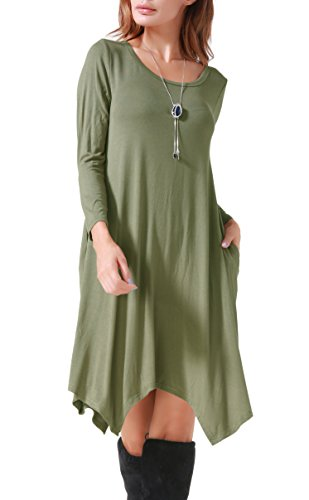 Invug Women Casual Loose Soft Crewneck Long Sleeve Pockets Swing T-Shirt Dress Army Green L