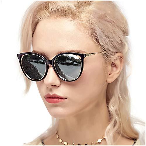 Myiaur Fashion Cat Eye Sunglasses Women, Polarized Mirror Glasses, Stylish Style Design, for UV Protection/Driving/Outdoor (Black Cateye Frame Silver Mirror Glasses)
