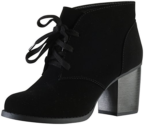 SODA Delicious Women's Ripley Sueded Lace Up Chunky Stacked Heel Ankle Bootie,Black,9