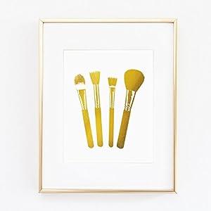 Makeup Brushes Eyeshadow Gold Foil Leaf Wall Art Print like Gossip Girl Fashion map Vogue Glam Girl Room Decor poster 0349