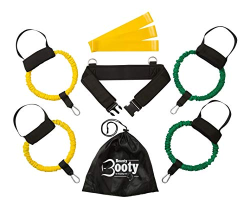 Belt Blaster (dangling toes Booty Resistance Bands w/Belt |Beauty Booty| Workout Equipment for Legs & Butt Muscles. Includes Adjustable Waist Belt, 2 Sets of Bands-20lb & 30lb, 3 Mini Loop Bands, Carry Bag & Guide)
