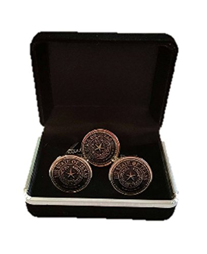 - Blue Bayou Mens Texas State Seal Cuff Links/Tie Tack Combo (Silver/Black)
