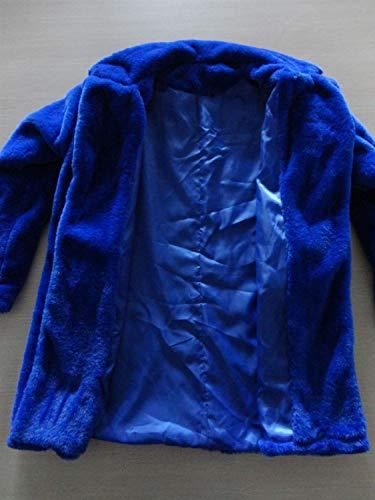 Lâche La Mode Veste Revers Manteau Manteaux Femmes Fausse Élégant Peluche Chaud Épaissir Fourrure Manches Bleu De Longues Casual En Hiver Monochrome Femmes Casual En wZBZAXaqS