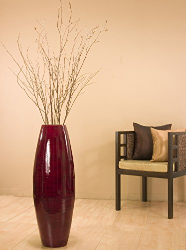 Green Floral Crafts 36 in. Tall Red Cylinder Floor Vase & Birch Branches