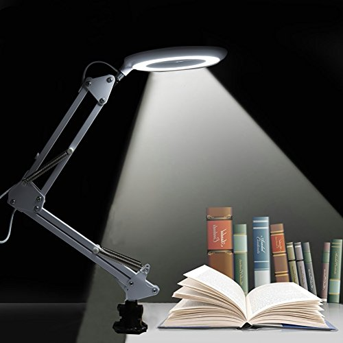 LED Magnifying Lamp with 3X Magnifier Glass Full Aperture Eye Light for Close Work and Reading, Adjustable Brightness and Folding Detachable Arm Perfect for Clip on Desk & Workbench