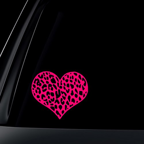 Leopard Print Heart Car Decal / Sticker - HOT PINK