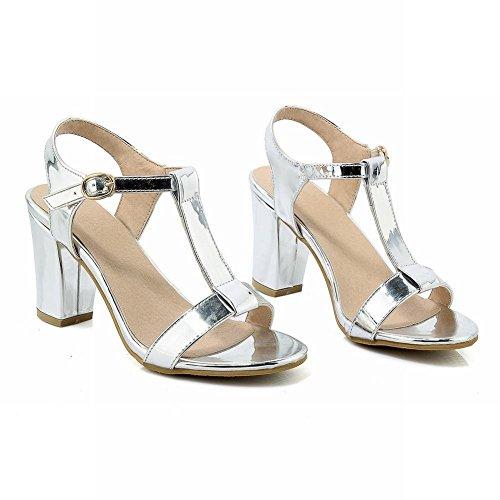 tacón PU Elegante Sandalias Shoes talón alto Mee concisas Calzado Bloque Cuero EgU1qwcT